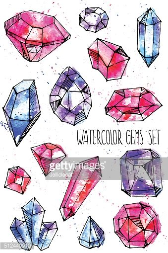 Watercolor bright hand-drawn gems set