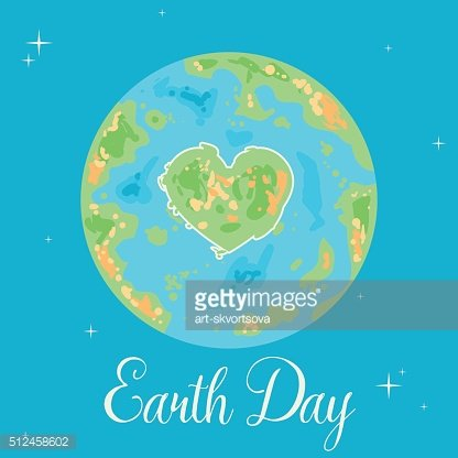 Earth with heart. Happy Earth Day