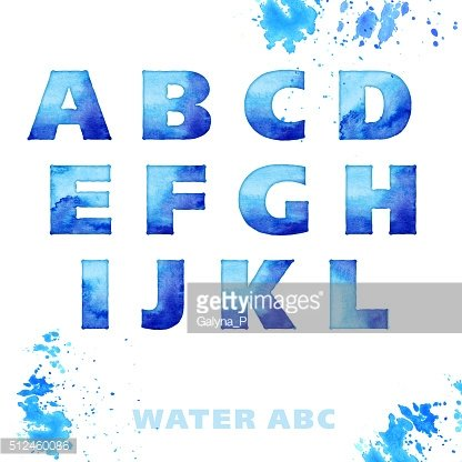 watercolor blue letters. water style lettering set