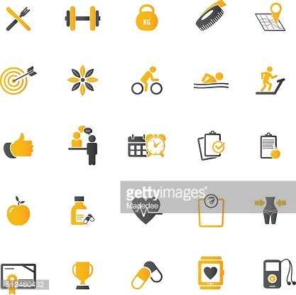 Fitness Icons set - set of fitness icons - amenities