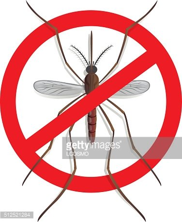 Nature, mosquitoes stilt with prohibited sign, top view