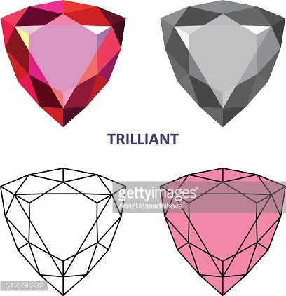 Low poly colored & black outline template trilliant gem cut