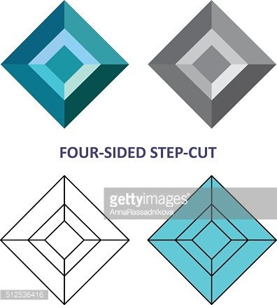 Low poly colored & black outline template four-sided step-cut ge