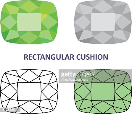 Low poly colored & black outline template rectangular cushion ge