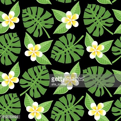 seamless tropical leaves and flowers