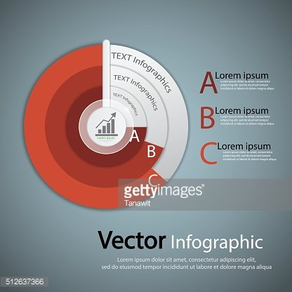Business Infographics red circle origami style.