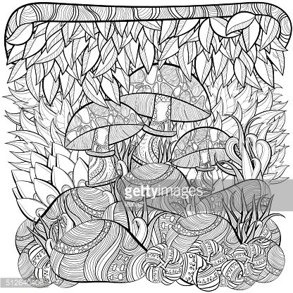 Coloring book page for adults. Scene with mushrooms