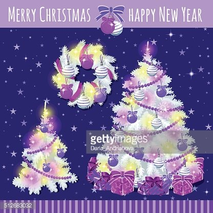 Poster with two Christmas trees and wreath