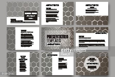 Set of 9 templates for presentation slides. Chemistry pattern, hexagonal