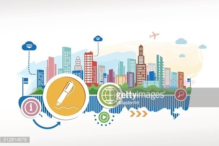 Pencil symbol and cityscape background with different icon and e