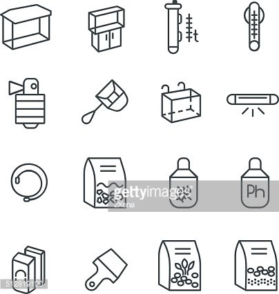 Items for aquarium hobby as line icons set 1