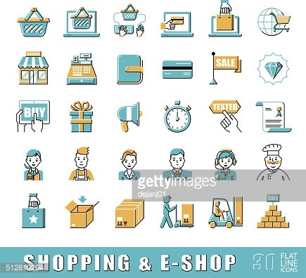 Set of e-commerce icons. Various shopping icons.