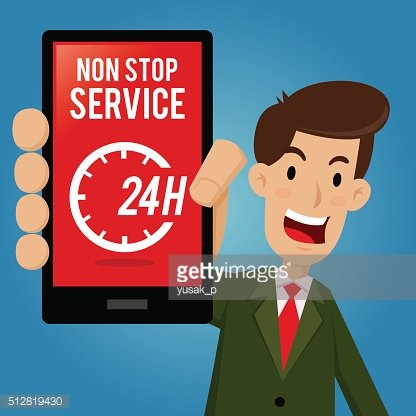 Businessman Showing Non Stop Service on Smartphone