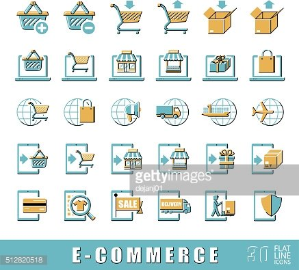 Collection of icons for online shopping. Vector illustration.