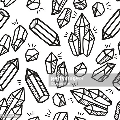 Black and White Crystal boho hand drawn pattern