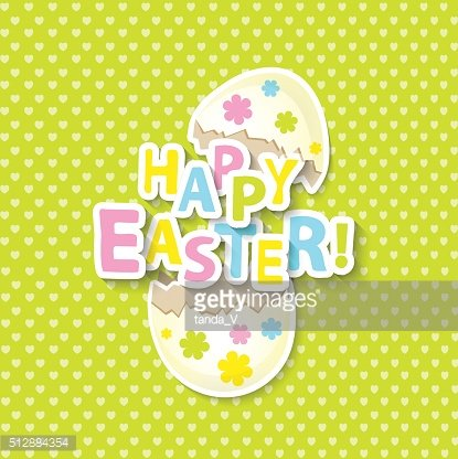 Happy Easter Greeting Card with Cartoon Eggs.