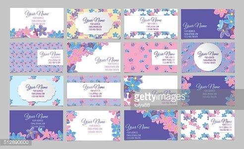 Set of sixteen floral business cards