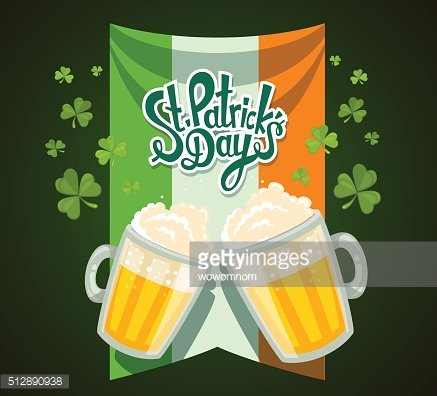 Vector illustration of St. Patrick's Day greeting with two mugs