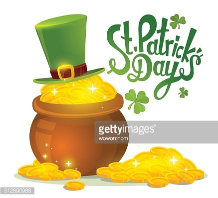 Vector illustration of St. Patrick's Day greeting with big pot