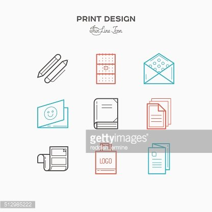 Flat line icons of Print design products