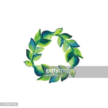 Watercolor wreath of branch with green leaves