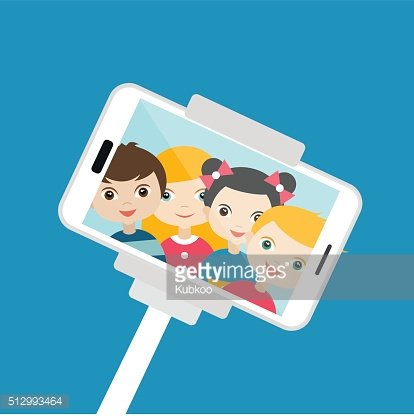 Children making selfie photo. Vector cartoon illustration.