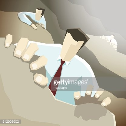 Businessman climbs up the cliff, but other competitors trying to