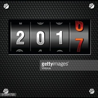 New Year Analog Counter detailed vector 2017