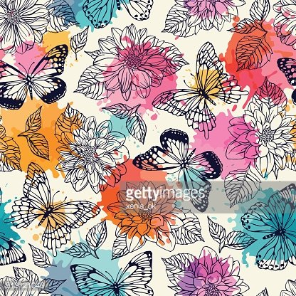 pattern with butterflies and dahlias