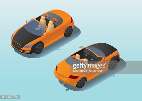 3d isometric view of open sport car.