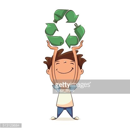 Child holding recycling symbol