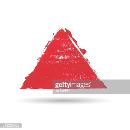 triangular figure drawn with paint. Watercolor texture, background or frame.