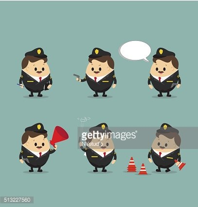Vector set of Police Officer in action