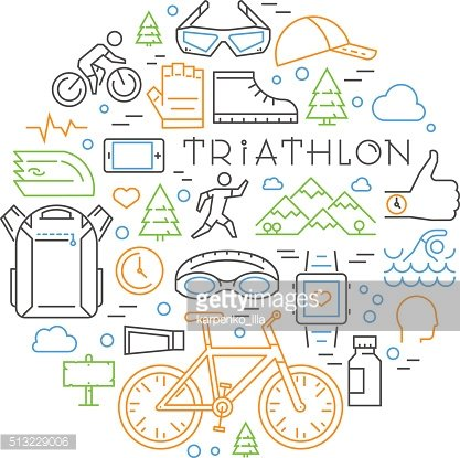Colored linear triathlon concept. Line triathlete and other elem