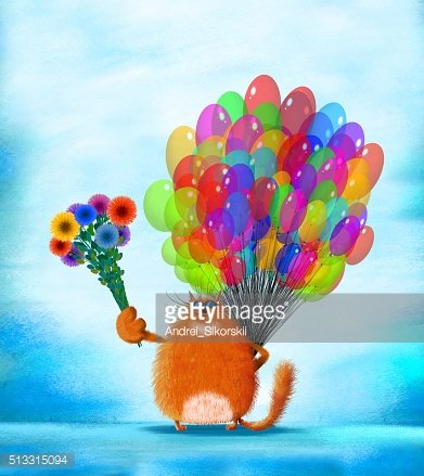 Red Cat With Sunglasses Holding Flowers and Balloons