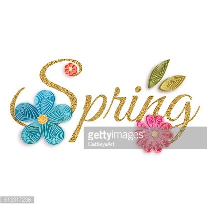 Gold text of spring with quilling flowers. Vector illustration
