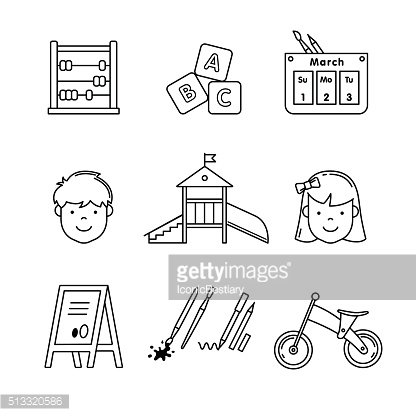 Kindergarten education icons thin line art set