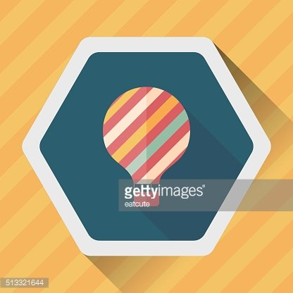 Hot Air Balloon flat icon with long shadow