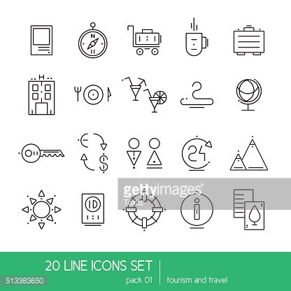 Thin lines icon collection - household appliances, tourism and travel.