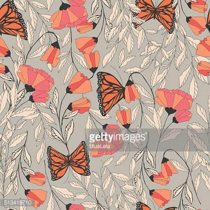 Vector traditional seamless pattern with Monarch butterflies, floral elements