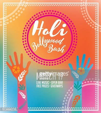 Holi Party invitation poster greeting card design.