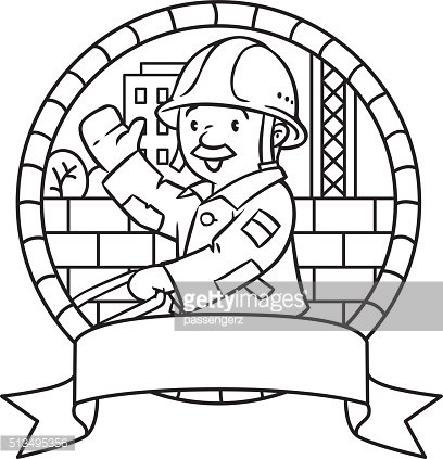 Coloring book or emblem of funny worker with cart