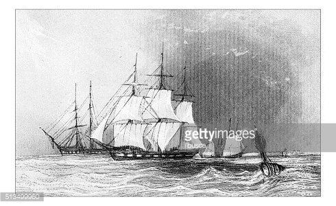 Antique illustration of ships in sea