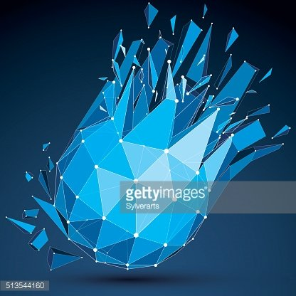 Abstract asymmetric blue vector low poly wrecked object