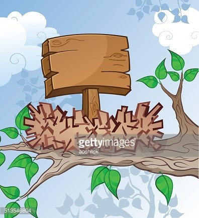 Wooden Sign in a Bird Nest Cartoon