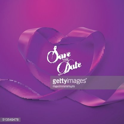 Save the Date. Purple Ribbon Heart.