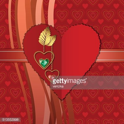 Red paper heart and beautiful diamonds