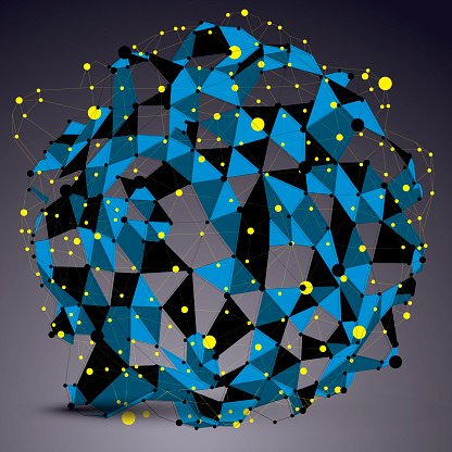 Abstract asymmetric vector blue structure with yellow wire mesh,