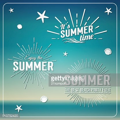 Elements for Summer calligraphic design. Enjoy Summer holidays. Beach Party