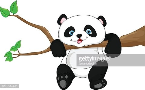 Cute funny baby panda hanging on the tree